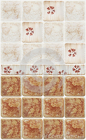 Free Brown Marble Tiles With Floral Decorations Royalty Free Stock Image - 48103936