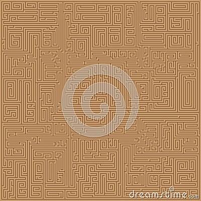 Brown Maze Seamless Pattern