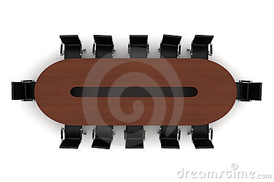 Brown meeting table with black chairs isolated
