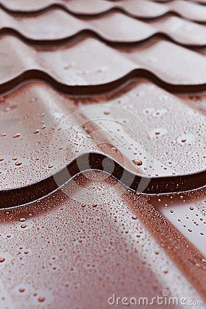 Brown metal roof tiles