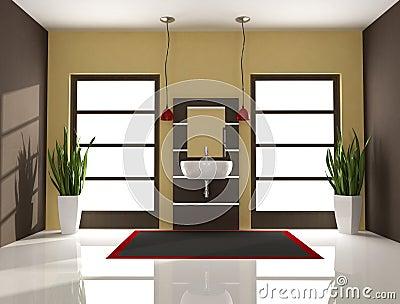 Brown-minimales Badezimmer