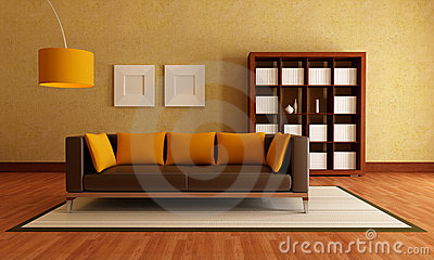 Brown and orange living room stock image image 13153381 - Brown and orange living room ...