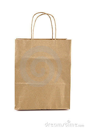 Free Brown Paper Bag Isolated On White Royalty Free Stock Image - 15472496