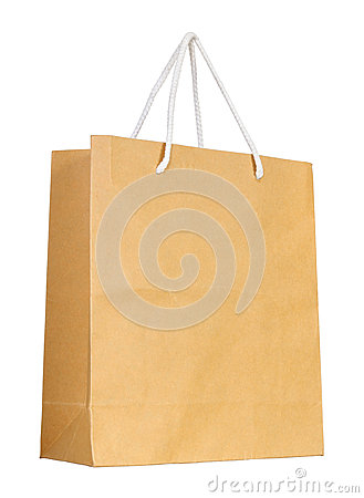Free Brown Paper Bag Isolated On White Stock Images - 37220994