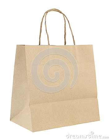 Free Brown Paper Bag Isolated On White Royalty Free Stock Images - 38475279