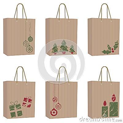 Brown paper christmas bags