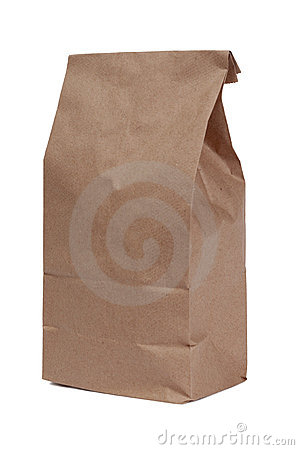Brown paper bag on white