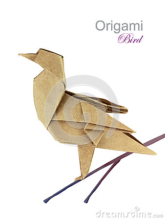 Brown paper origami twitter bird