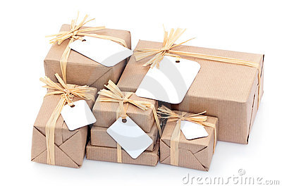 Brown parcels with blank label