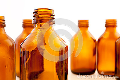 Brown pharmaceutical bottles