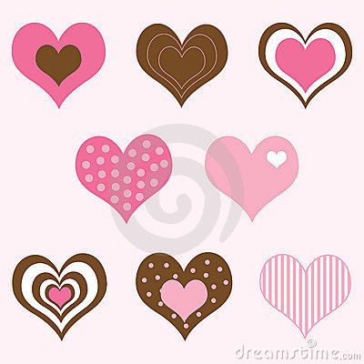 Brown and Pink Hearts Set
