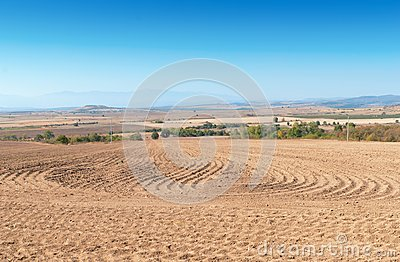 Brown ploughed field