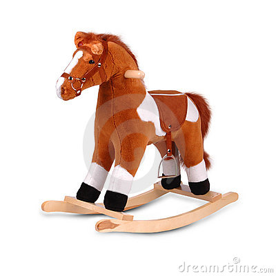 Brown plush rocking horse