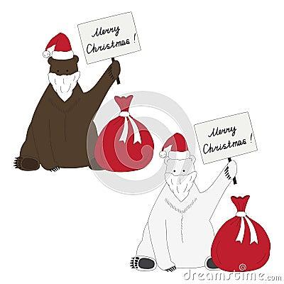 Brown and polar bears congratulate with Christmas