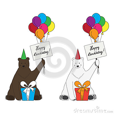 Brown and polar bears congratulate with happy birt