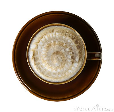 Brown porcelain cup with marbled milk froth