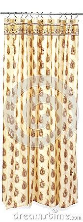 Brown print shower curtain