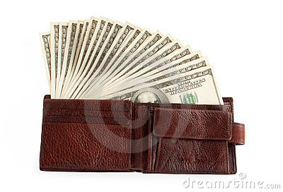 Brown purse with dollars