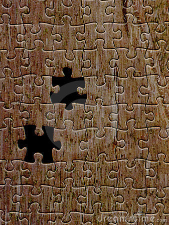 Brown puzzle texture with two missing pieces