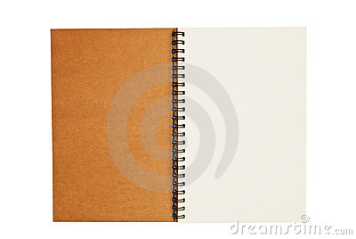 Brown recycle paper blank notebook open isolated