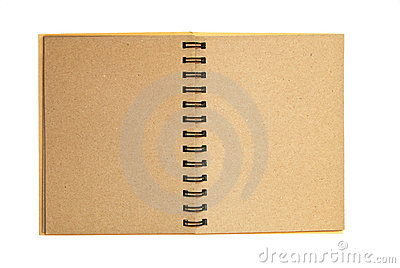 Brown recycle paper notebook open isolated