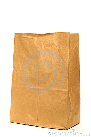 Free Brown Recycled Paper Grocery Bag Over White Stock Images - 1850304