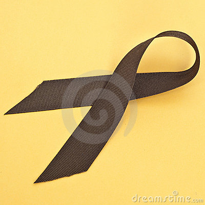 Brown Ribbon on Vibrant Yellow
