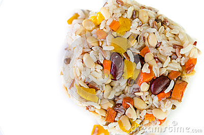 Brown rice with cereal Stock Photo