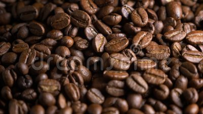 Brown roasted coffee beans. Close up stock footage