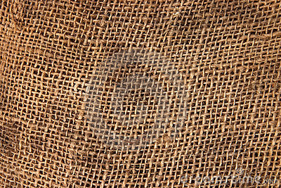Brown sack cloth material.