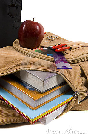 Free Brown School Back Pack Full Of School Supplies And An Apple Stock Image - 1170501