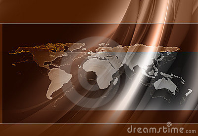 Brown Silk World Map Background