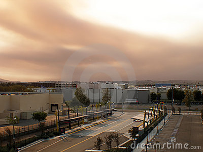 Brown smoke from wild fires