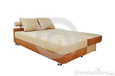 Brown sofa with fabric upholstery isolated
