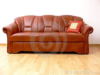 Brown sofa with orient pillow