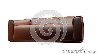 Brown sofa over white