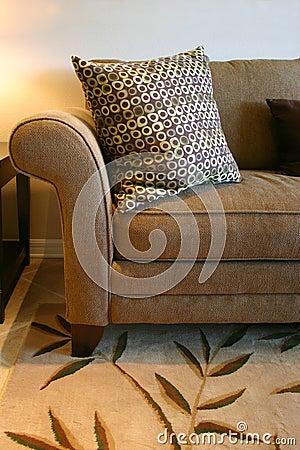 Brown-Sofa und Kissen