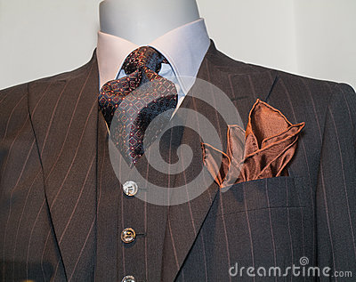 Brown Striped Jacket, Tie, Tan Handkerchief
