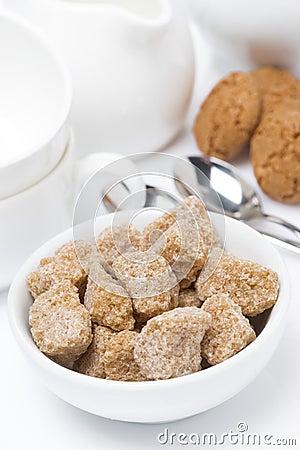 Brown sugar closeup, cookies and crockery for teatime