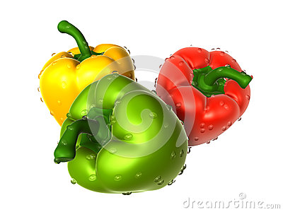 Brown sweet pepper with water droplets from variety. Foods and D