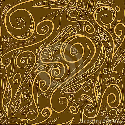 Brown swirls - seamless pattern