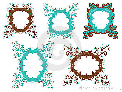 Brown and teal frames