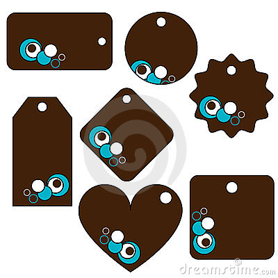 Brown,turquoise vector tags