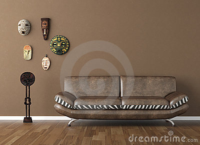 Brown wall with tribal masks