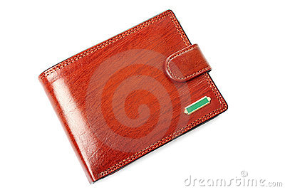 Brown wallet isolated.