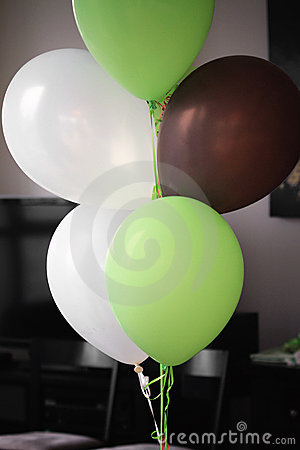 Brown White Green Balloons