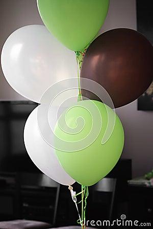 Brown White Green Balloons
