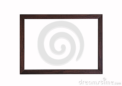 Brown wooden frame on white