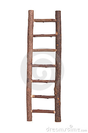 Brown wooden ladder isolated