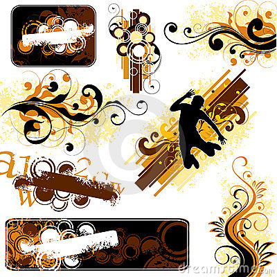 Brown and yellow designs